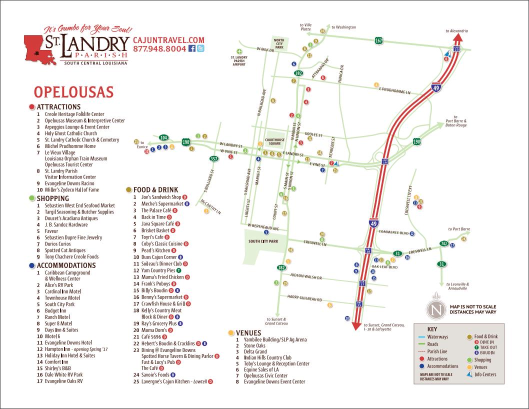 Opelousas Louisiana Map.Maps St Landry Parish Tourist Commission